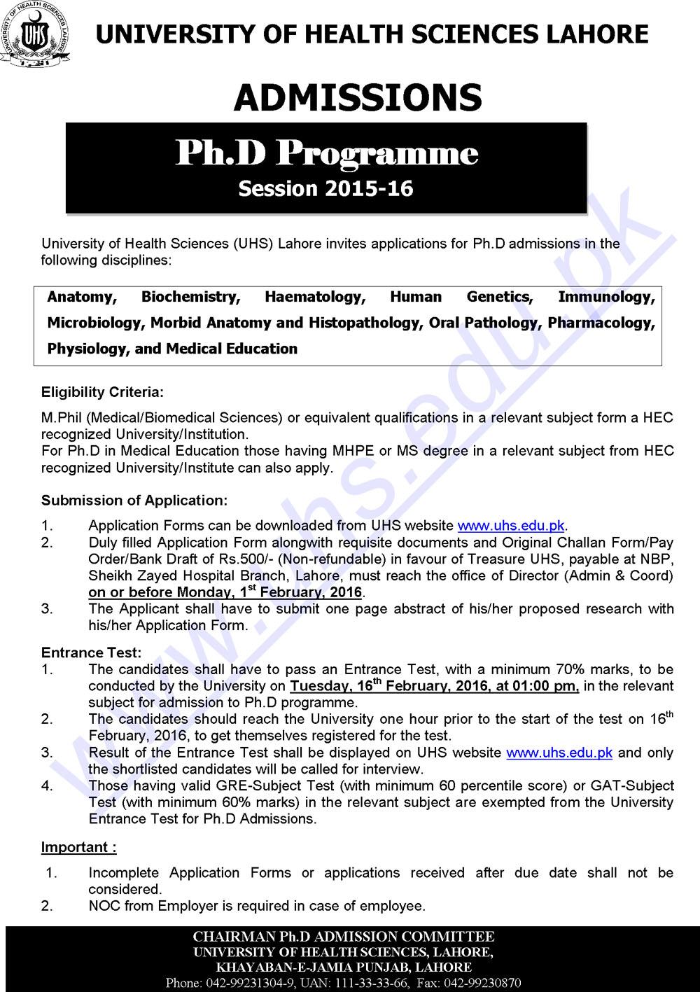 University Of Health Sciences Lahore PHD programs