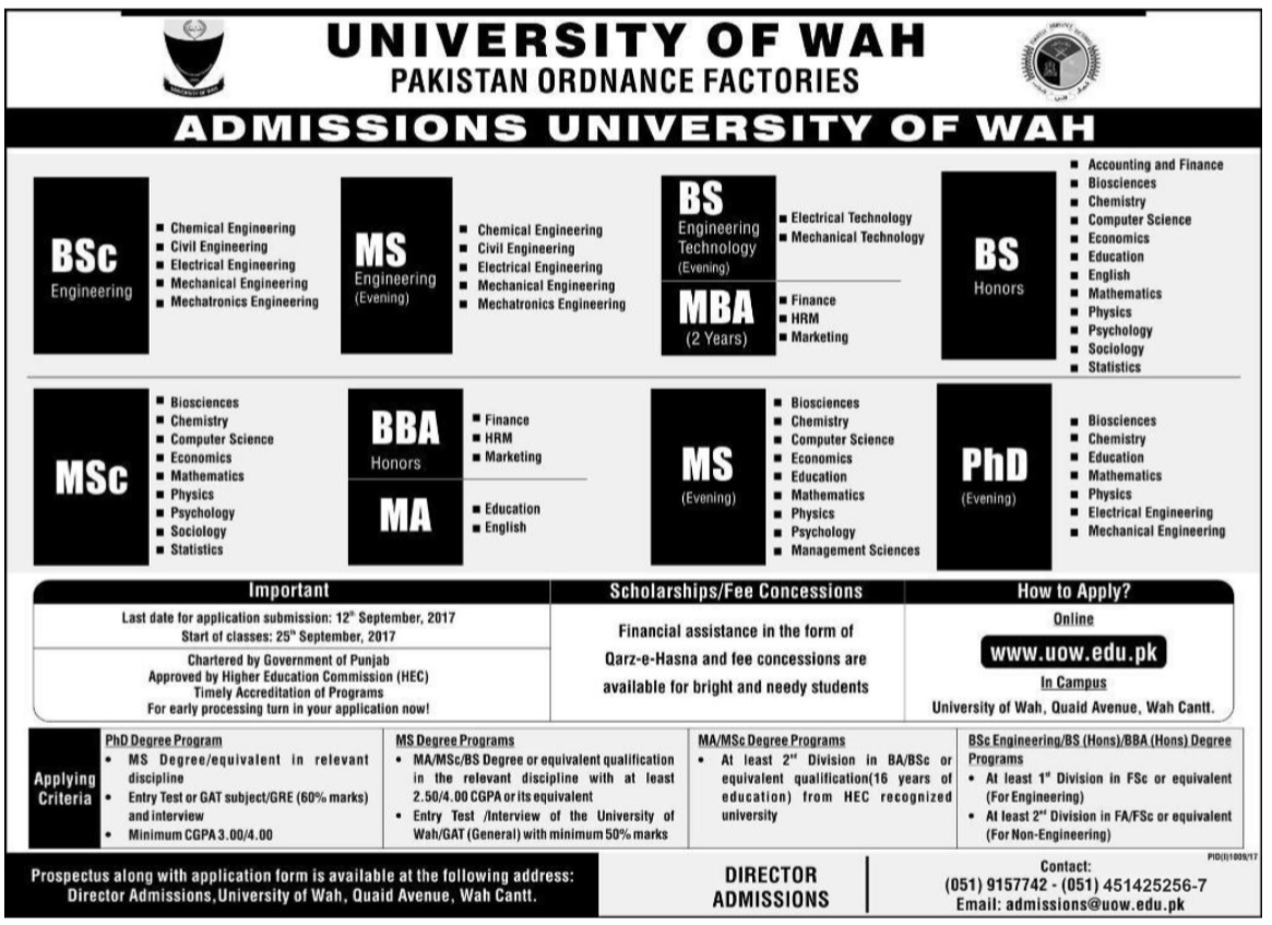 University of Wah admission