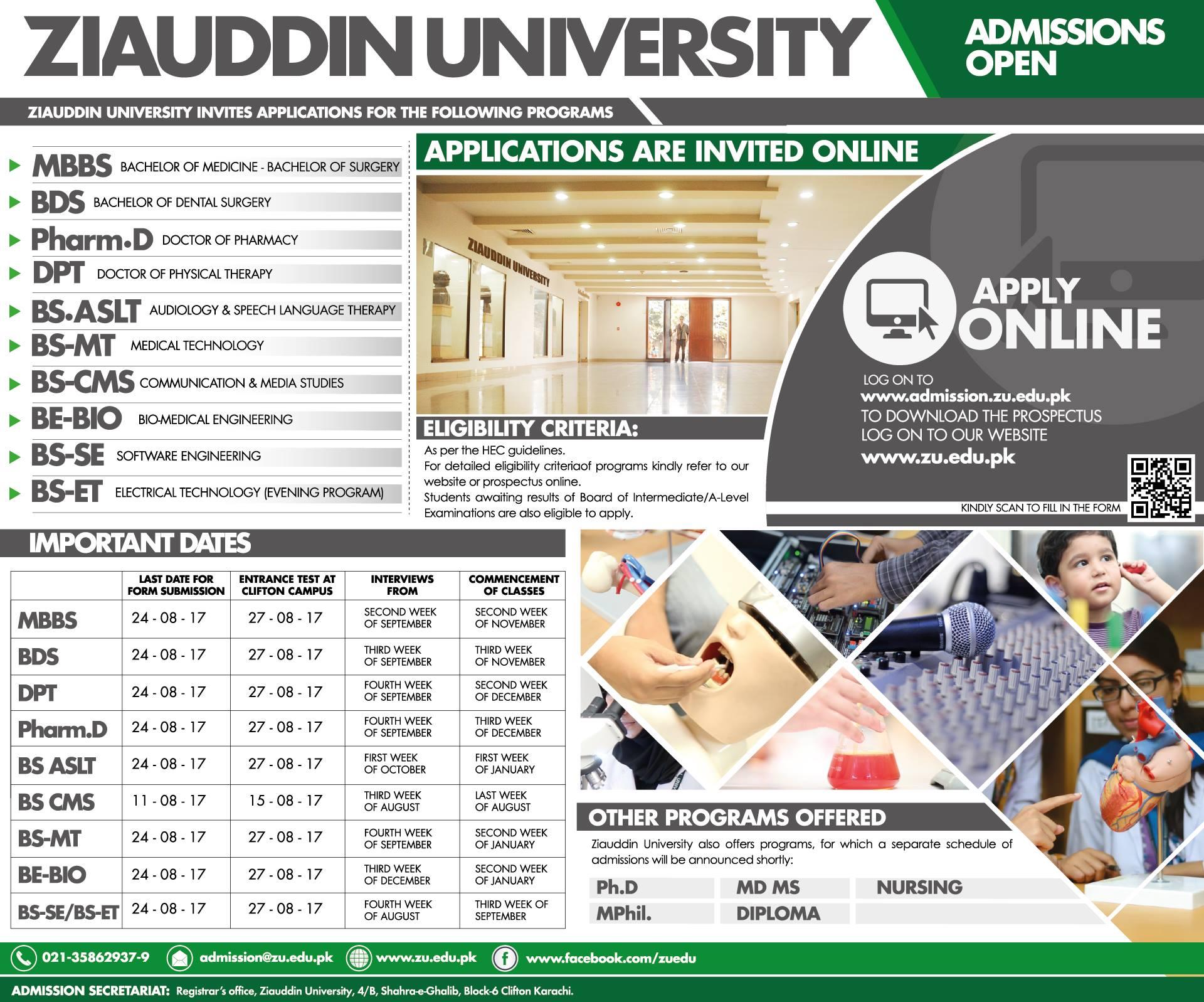 Ziauddin University admission programs