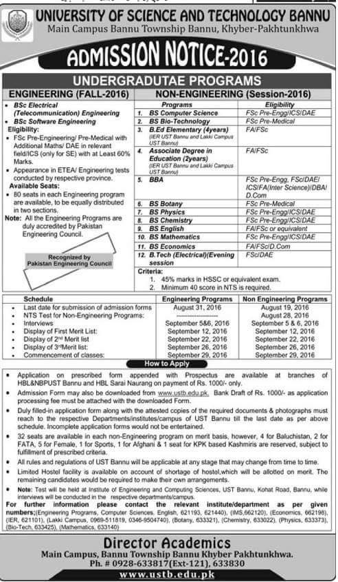 university of science and technology bannu admission