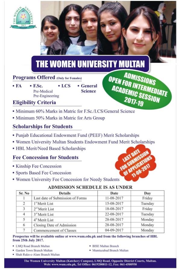 The women university Multan FSC intermediate admission